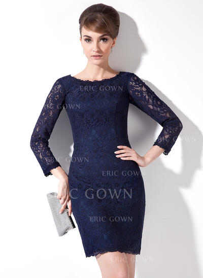 Sheath/Column Lace 3/4 Sleeves Scoop Neck Short/Mini Zipper Up Mother of the Bride Dresses (008005636)
