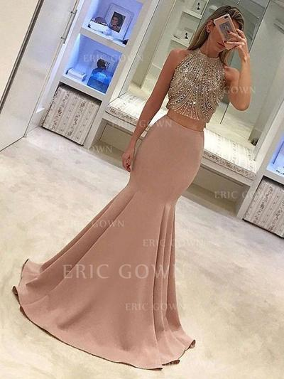 Trumpet/Mermaid High Neck Sweep Train Satin Prom Dresses With Beading (018217892)