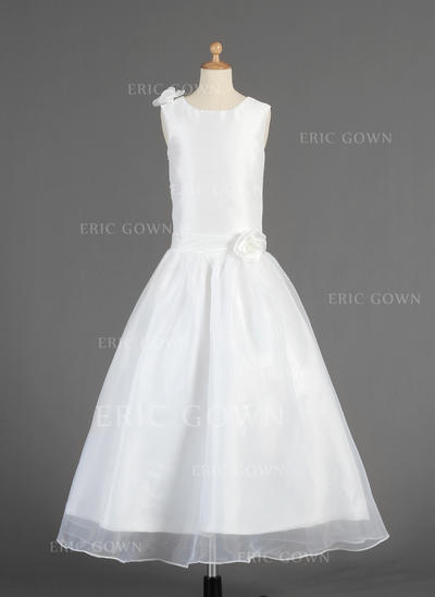 Luxurious Scoop Neck A-Line/Princess Flower Girl Dresses Ankle-length Taffeta/Organza Sleeveless (010014613)