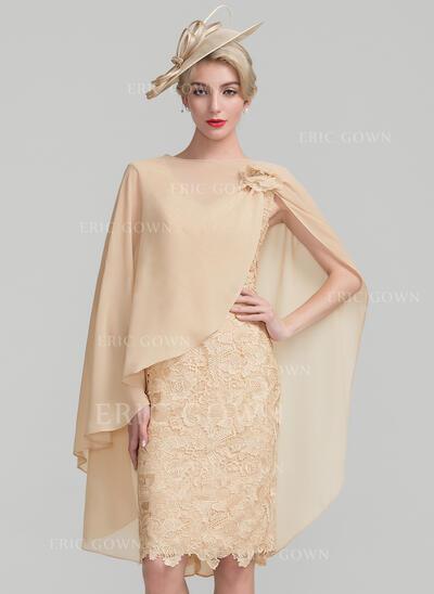 Sheath/Column V-neck Knee-Length Lace Mother of the Bride Dress (008107674)