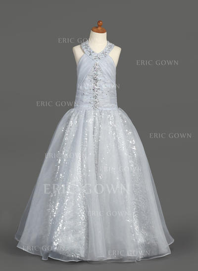 Chic Halter A-Line/Princess Flower Girl Dresses Floor-length Organza/Sequined Sleeveless (010007389)