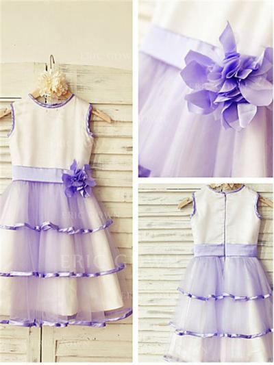 A-Line/Princess Scoop Neck Tea-length With Flower(s) Satin/Tulle Flower Girl Dresses (010211945)