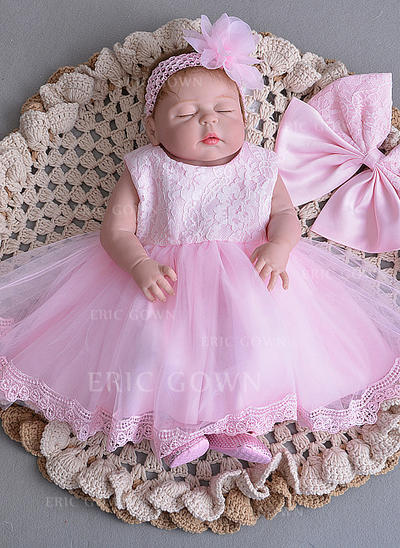 A-Line/Princess Scoop Neck Floor-length Tulle Christening Gowns With Bow(s) (2001218026)
