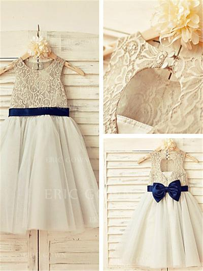 A-Line/Princess Scoop Neck Tea-length With Sash/Bow(s) Tulle/Lace Flower Girl Dresses (010211930)