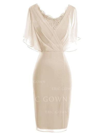 Sheath/Column Chiffon 1/2 Sleeves V-neck Knee-Length Zipper Up Mother of the Bride Dresses (008146399)