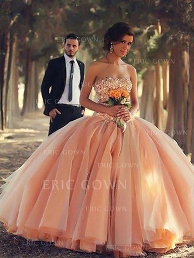 Ball-Gown Organza Prom Dresses Beading Strapless Sleeveless Floor-Length (018210222)