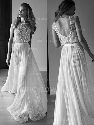 A-Line/Princess Scoop Sweep Train Wedding Dresses With Beading (002217962)