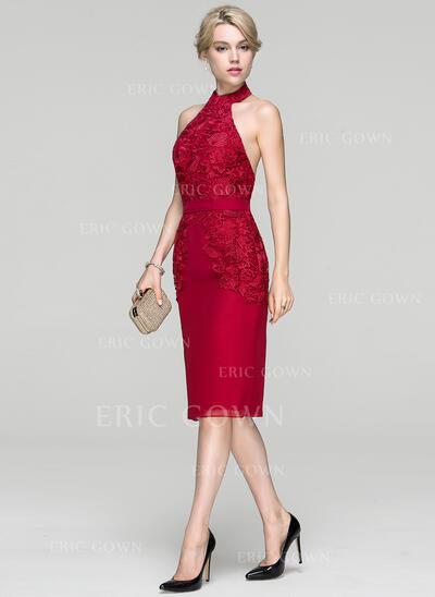 Sheath/Column Halter Knee-Length Chiffon Cocktail Dress (016094371)