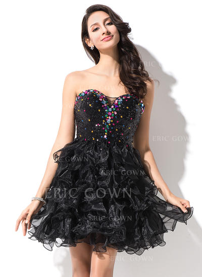 A-Line/Princess Sweetheart Short/Mini Homecoming Dresses With Beading (022214001)