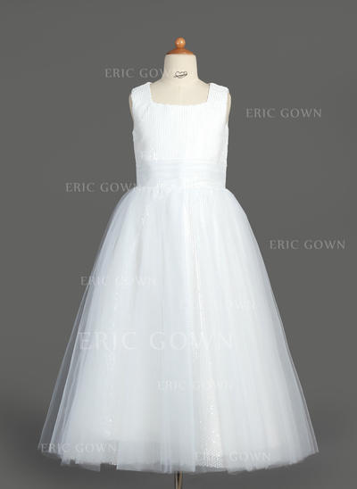 Simple Square Neckline A-Line/Princess Flower Girl Dresses Tea-length Tulle/Sequined Sleeveless (010007313)