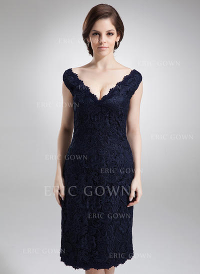 Sheath/Column Lace Sleeveless Off-the-Shoulder Knee-Length Zipper Up Mother of the Bride Dresses (008005700)
