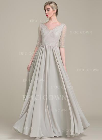A-Line/Princess V-neck Floor-Length Chiffon Lace Mother of the Bride Dress (008102685)