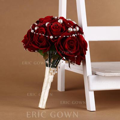 "Bridal Bouquets Round Wedding Satin/Silk 10.63""(Approx.27cm) Wedding Flowers (123188907)"