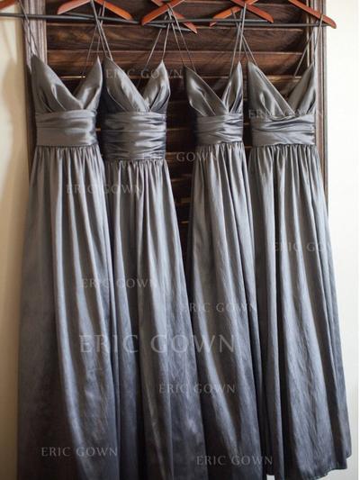 A-Line/Princess Taffeta Bridesmaid Dresses Ruffle V-neck Sleeveless Floor-Length (007145027)