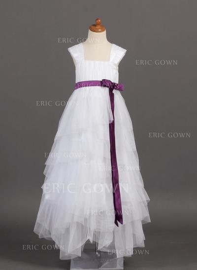 2018 New Square Neckline A-Line/Princess Flower Girl Dresses Floor-length Tulle/Charmeuse Sleeveless (010005782)