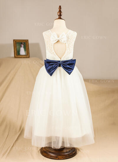 A-Line/Princess Tea-length Flower Girl Dress - Satin/Lace Sleeveless Scoop Neck With Lace/Sash/Bow(s)/Back Hole (010094435)