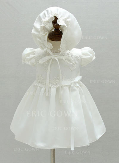 A-Line/Princess Scoop Neck Ankle-length Satin Christening Gowns With Flower(s) (2001216843)