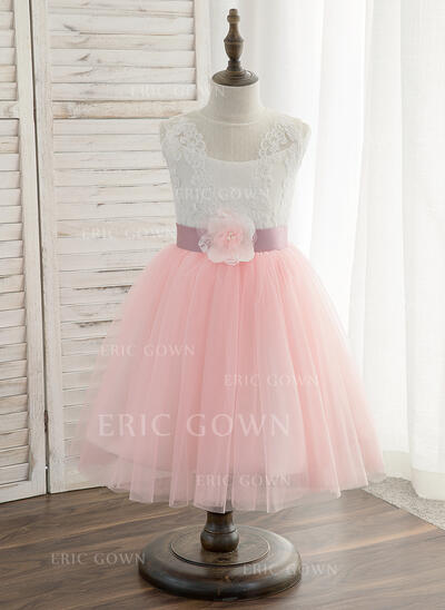 A-Line/Princess Knee-length Flower Girl Dress - Tulle/Lace Sleeveless Scoop Neck With Sash (010148831)