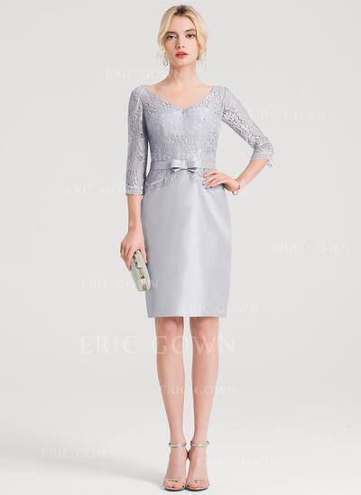 Sheath/Column V-neck Knee-Length Taffeta Cocktail Dress With Bow(s) (016150191)