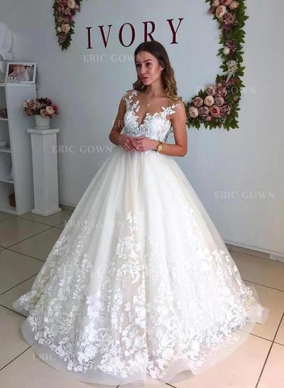 A-Line/Princess Tulle Sleeveless V-neck Court Train Wedding Dresses (002147997)