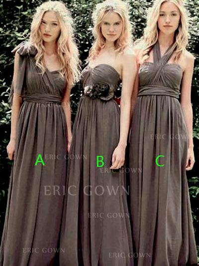 A-Line/Princess Sweetheart One-Shoulder Halter Floor-Length Bridesmaid Dresses With Ruffle (007218566)