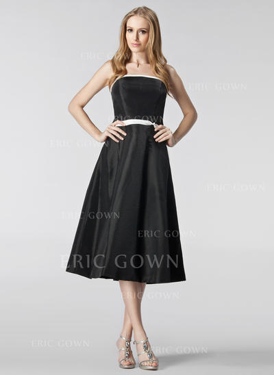 A-Line/Princess Taffeta Bridesmaid Dresses Sash Strapless Sleeveless Tea-Length (007001068)
