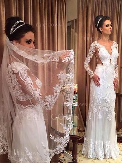 Sheath/Column Tulle Long Sleeves V-neck Sweep Train Wedding Dresses (002147996)