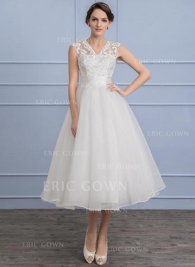 A-Line/Princess V-neck Tea-Length Organza Lace Wedding Dress With Ruffle (002107851)