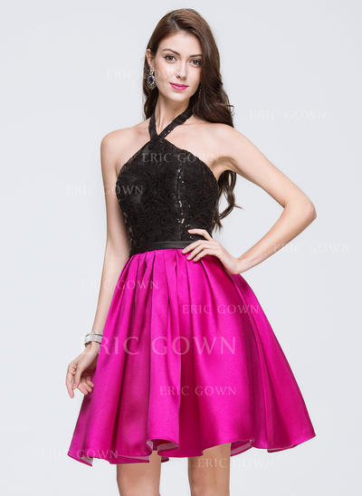 A-Line/Princess Halter Knee-Length Satin Lace Homecoming Dresses With Sequins (022214109)