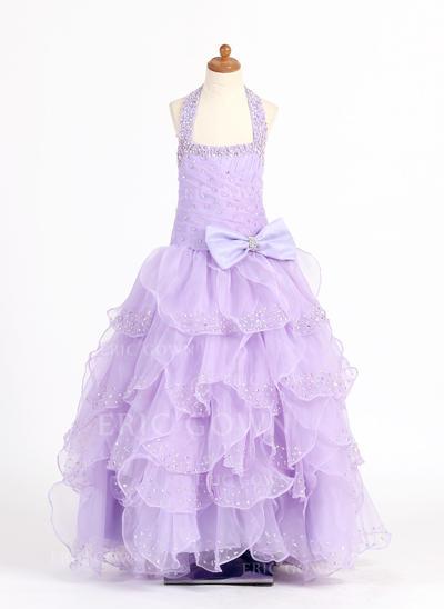 Modern Scoop Neck Ball Gown Flower Girl Dresses Floor-length Organza/Charmeuse Sleeveless (010007321)