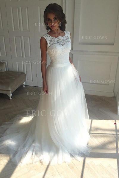 A-linjeformat Tyll Ärmlös Fyrkantshalsringning Court släp Bröllopsklänningar (002147809)