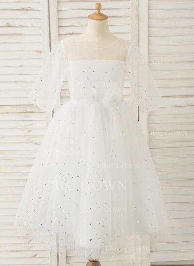 A-Line Tea-length Flower Girl Dress - Tulle 3/4 Sleeves Scoop Neck With V Back (010183552)