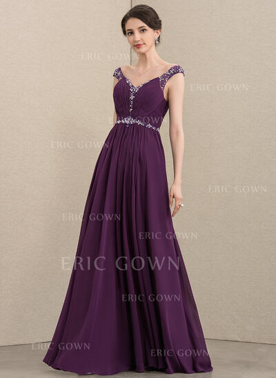 A-Line V-neck Floor-Length Chiffon Mother of the Bride Dress With Ruffle Beading Sequins (008195375)