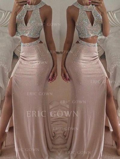 Trumpet/Mermaid Halter Floor-Length Prom Dresses With Beading Split Front (018218498)