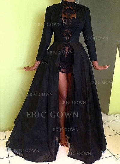 Ball-Gown Sweep Train Prom Dresses High Neck Taffeta Long Sleeves (018146561)