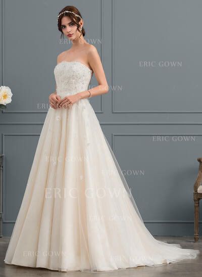 Ball-Gown Strapless Court Train Tulle Wedding Dress With Beading Appliques Lace Flower(s) Sequins (002134544)