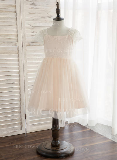 A-Line/Princess Knee-length Flower Girl Dress - Tulle/Lace Sleeveless Straps With Beading (010148828)