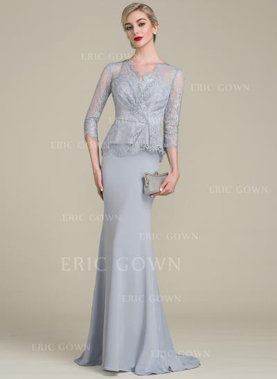 Trumpet/Mermaid V-neck Sweep Train Lace Jersey Mother of the Bride Dress With Ruffle (008107656)