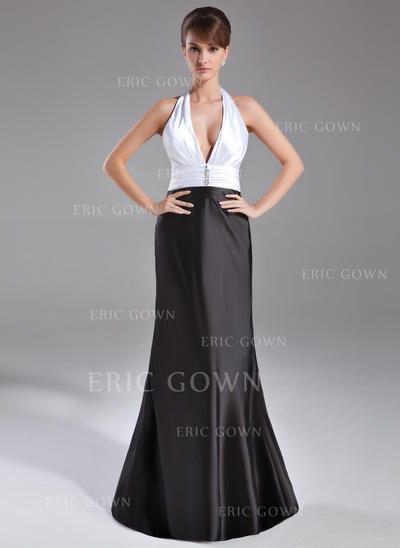 Trumpet/Mermaid Halter Sweep Train Evening Dresses With Ruffle Beading (017020734)