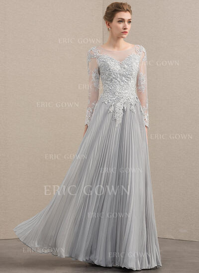 A-Line/Princess Scoop Neck Floor-Length Chiffon Lace Mother of the Bride Dress With Beading Sequins Pleated (008152141)