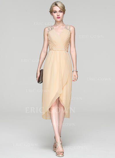 A-Line V-neck Asymmetrical Chiffon Cocktail Dress With Ruffle Beading Sequins (016094376)