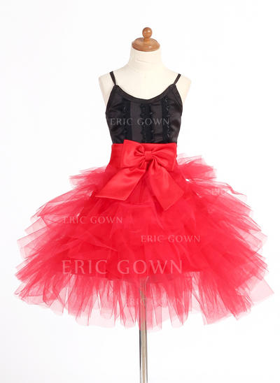 Luxurious Straps A-Line/Princess Flower Girl Dresses Short/Mini Satin/Tulle Sleeveless (010007668)