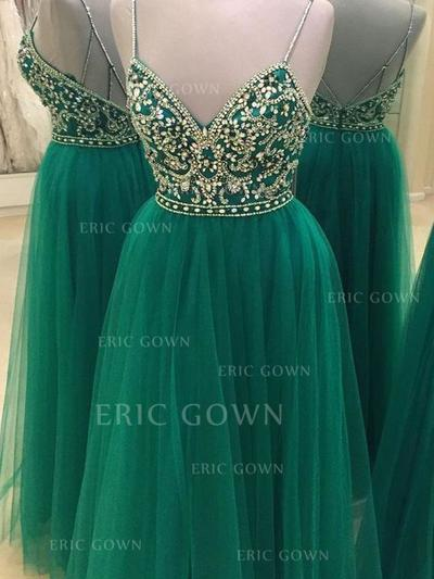 A-Line/Princess V-neck Floor-Length Tulle Evening Dresses With Beading (017217134)