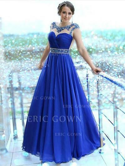 A-Line/Princess Scalloped Neck Floor-Length Chiffon Evening Dresses With Beading (017217017)