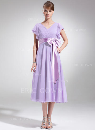 A-Line/Princess Chiffon Short Sleeves V-neck Tea-Length Zipper Up Mother of the Bride Dresses (008006070)