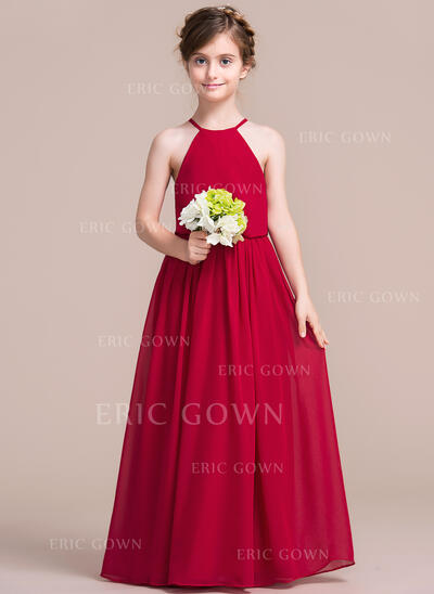 A-Line/Princess Floor-length Flower Girl Dress - Chiffon Sleeveless Scoop Neck (010113821)