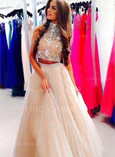 A-Line/Princess High Neck Floor-Length Evening Dresses With Beading (017217084)
