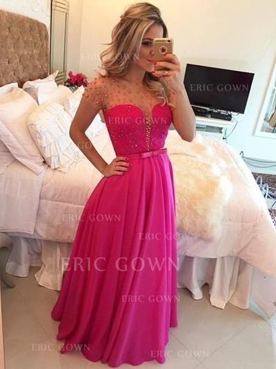 A-Line/Princess Scoop Neck Floor-Length Evening Dresses With Beading Bow(s) (017218577)
