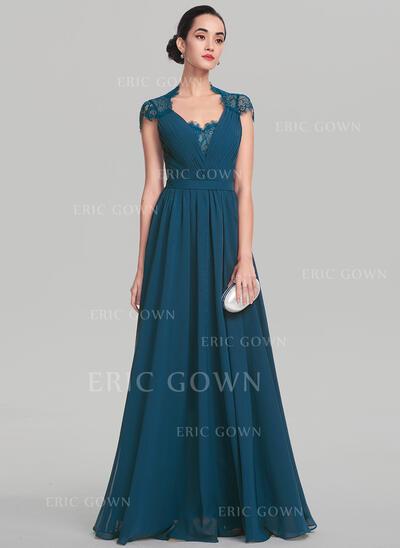 A-Line/Princess V-neck Floor-Length Chiffon Evening Dress (017137368)