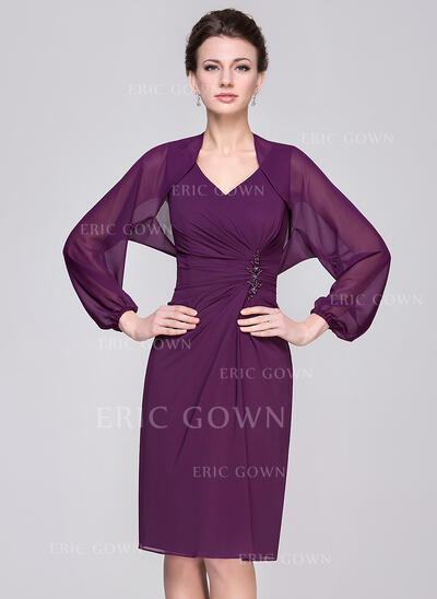 Sheath/Column V-neck Knee-Length Chiffon Mother of the Bride Dress With Ruffle Beading Sequins (008058412)